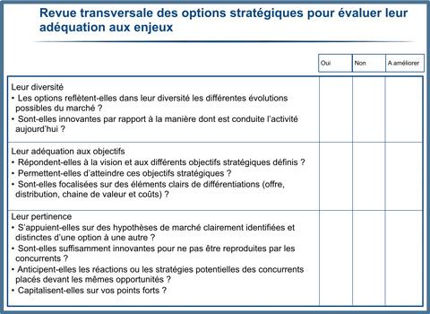 Revue transversale des options stratégiques pour évaluer leur adéquation aux enjeux